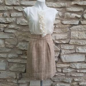 BCBG Maxazria Ruffle Front Silk Tweed Dress 8